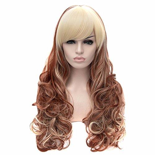 Europe Des Femmes De Perruque Frisée Perruque De Mode Bang Longue Soignée Perruques De Cheveux Complète Cosplay Partie