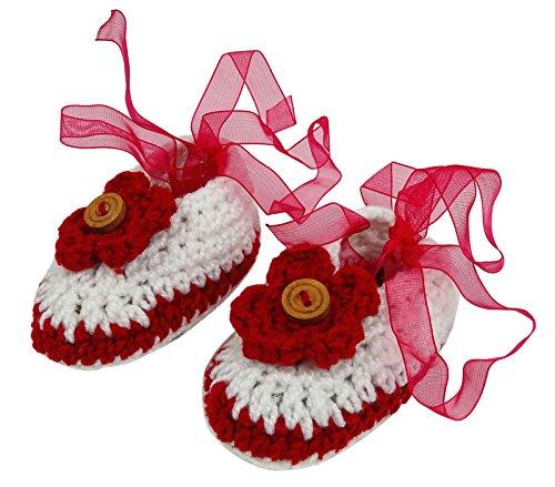 Love Crochet Art Chaussettes du nouveau-né Prewalker Chaussures bébé bébés à la main bottillons Blanc et rouge