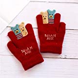 Babyhandschuhe Herbst und Winter warm fünf Finger niedlichen dünnen Abschnitt gebürstet Jungen und Mädchen Baby Kind Kinder Handschuhe Winter, 11,5 * 7,5 cm / 0-3 Jahre alt, tiefrot