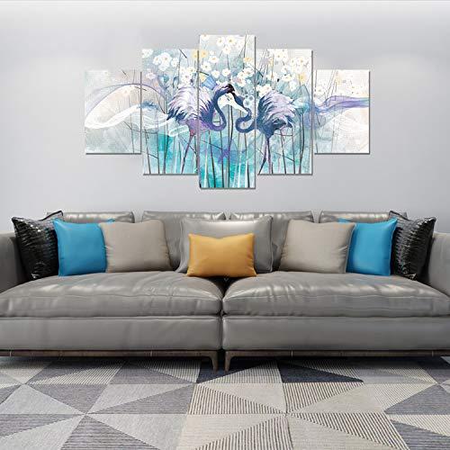 hqatpr quadro soggiornofive pezzi pittura ad olio combinazione di fiori di struzzo decorazione soggiorno cinque dipinti adesivi murali in stile nordico