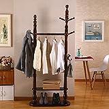 YMJ Garderobe Garderobenständer Floorstanding Massivholz Kleiderbügel Schlafzimmer Wohnzimmer Stehen Hängen Aufhänger Europäischen Stil Retro 187 * 80 cm (Farbe : 1#)
