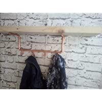 Copper shelf brackets with coat hooks