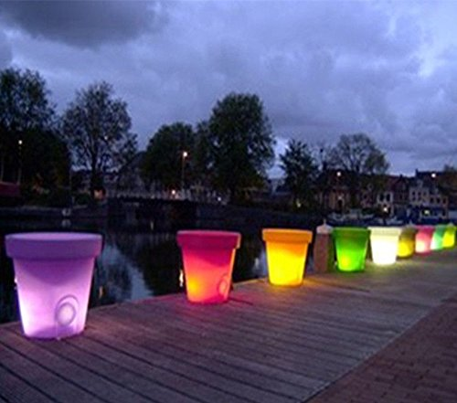 4PCS LED Leuchtmittel Rundes Tablett Blumentopf Farben Wechselhafte Luminous Flash Blumenkübel Übertopf Indoor Pflanztopf