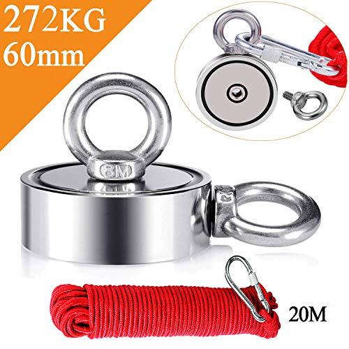 Uolor 272KG Haftkraft Doppelseitig Neodym Ösenmagnet mit Seil (20M/66ft), Super Stark Magnete Perfekt zum Magnetfischen Magnet Angel - Ø 60mm mit 2 Öse Neodymium Topfmagnet -