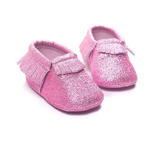 ZOEREA Super weich Leder Anti-Rutsch Lauflernschuhe Krabbelschuhe Babyschuhe Kinderschuhe Krippe Schuhe für Laufanfänger Baby Mädchen Jungen 0-18 Monate Pink