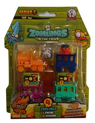 Magic Box Int. - Zomlings, serie 3, incl. 4 personaggi, 3 vagoni e 1 locomotiva [importato da UK]