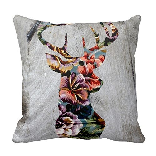 Decorative Cotton 18 X 18 Twin Sides Hipster Vintage Floral Deer Head Silhouette Throw Pillowcases