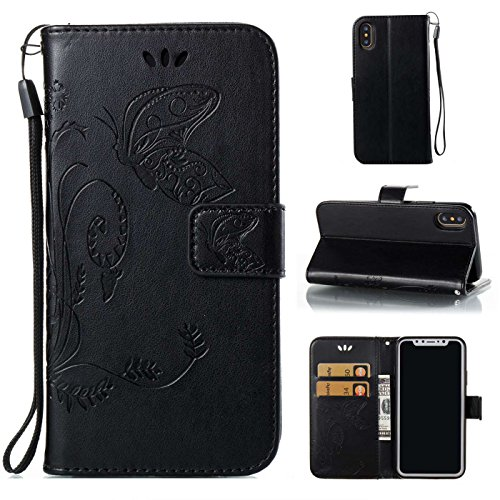 iPhone X Ledertasche,iPhone X Hülle,TOYYM Retro Schmetterling Muster Ultra Dünn PU Leder Magnet Flip Cover Stand Klapphülle Wallet mit Kartensteckplätzen,Folio Full Body Protection Brieftasche Innere  Schwarz