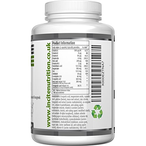 Testosterone Booster for Men - Increase Test Level - 100% MONEYBACK GUARANTEE - UK Manufactured
