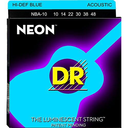 Dr Strings nba1010–48Lite Set Handmade Neon High Definition blau beschichtet Akustik Saiten