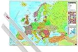 1art1 Póster + Soporte: Mapas Póster (91x61 cm) Mapa Europa Es Fisico Politico Y 1 Lote De 2...