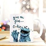 ilka parey wandtattoo-welt Tasse Becher Cookie Monster Kaffeebecher mit Spruch give me Five. Cookies ts495