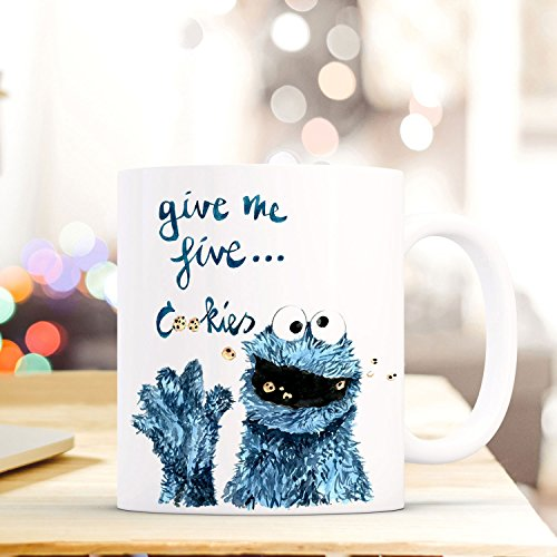 Tasse Becher Cookie Monster Kaffeebecher mit Spruch give me five... cookies ts495 ilka parey wandtattoo-welt® (Becher Cookie)