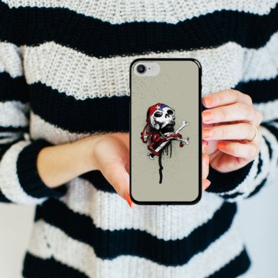 Apple iPhone X Silikon Hülle Case Schutzhülle Pirat Tod Totenkopf Hard Case schwarz