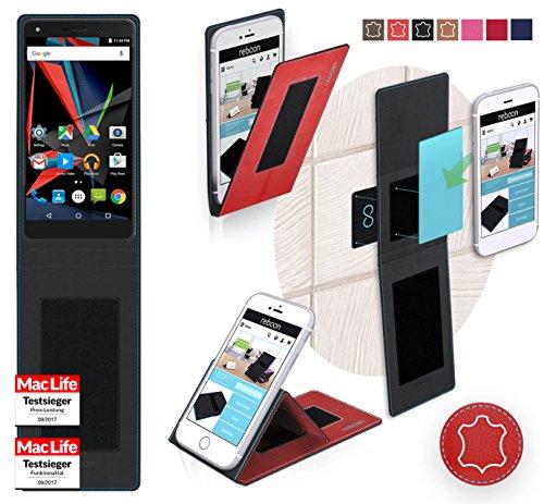 reboon Hülle für Archos Diamond 2 Note Tasche Cover Case Bumper   Rot Leder   Testsieger