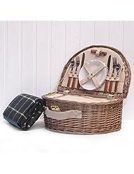 Westbury Cesta de picnic para 2 personas con Compartimento refrigerador, accesorios y Manta de picnic impermeable, color verde y crema, regalo paraDía de la Madre, San Valentín, cumpleaños, hombres, papá, de agradecimiento, aniversario de boda, compromiso