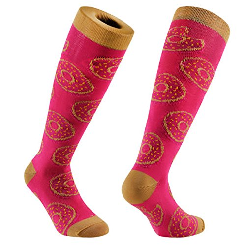 Samson Hosiery ® Donuts Pink Funky Novelty Socks Gift Fashion Funny Sports And Casual Knee High Doughnuts For Men Women Kids Unisex
