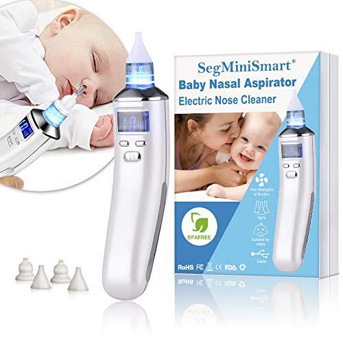 Preisvergleich Produktbild Nasensauger Baby Nasal Aspirator USB Aufladen Nasenschleimentferner Sicherer und Schneller Sowie Hygienischer,  LCD Bildschirm,  5 Saugstufen mit 4 Größen Silikon Tipps Tragbar Nasensauger