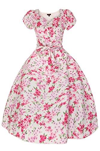Damen 1950er Herz Flügelärmel Sommer Blumen Retro Vintage Swing Kleid Weiß