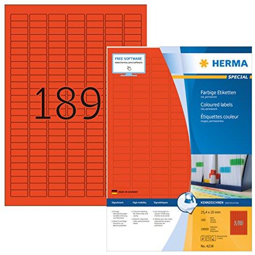 Herma 4238 Farbetiketten (25,4 x 10 mm auf DIN A4 Papier matt, selbstklebend) 18,900 Stück auf 100 Blatt bedruckbar, Rot