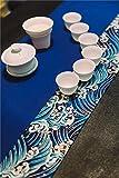 LINDA?Manteles Caminos De Mesa Las Olas Del Mar Impresión Los Sistemas De Fluidos Paño Rectángulo Manteles,BLUE,200X30