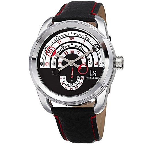 Joshua & Sons JX129RD - Reloj de pulsera para hombre, esfera redonda con diseño de arco, correa de piel negra con detalles rojos, doble costura, caja redonda de acero inoxidable