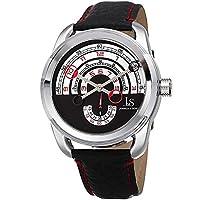 ساعة من جلد للرجال مزودة بمينا سوداء وسوار جلدي وعرض أنالوج - Jx129Rd