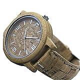 Naturkork mit Bambus-Handuhr, Unisex Männer Frauen Vegan Quarz Armbanduhr | Uhr Holz Uhr, umweltfreundliches Material Weiches, Flexibles und langlebiges Korkarmband Uhr Wa-87