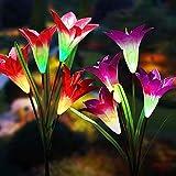 Solarleuchte Garten,2 Packung Solar Garten Lampen Lilie Blumen Solarlicht mit Farbwechsel LED Lampen, Außen Dekoration Lichter für den Garten/Rasen/Feld/Terrasse/Weg