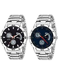 SRK Attractive Set Of 2 Watch Combo For Men And Boys(Black,Blue)