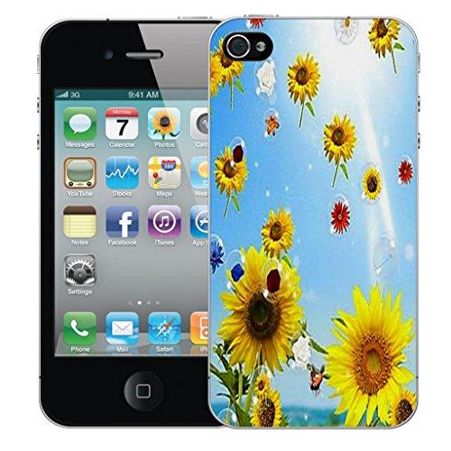 Nouveau iPhone 4s clip on Dur Coque couverture case cover Pare-chocs - snake love Motif avec Stylet sunflower bubbles