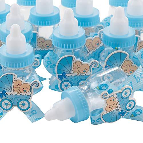 QILICZ 24 stück Flaschen Geschenk Box Gastgeschenke Taufe Baby-Süßigkeit Baby Candy Box Flasche Baby + 50stk Mini Dekoschnuller für Jungen Shower Babydusche Party Taufe Geschenkpaket Babyparty blau