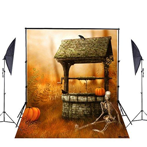 Halloween Foto Hintergrund, ycnet Größe Baumwolle Kürbis Skelett gut Crow Horror Halloween Thema klappbar Fotografie Hintergrund für (Crow Prop)