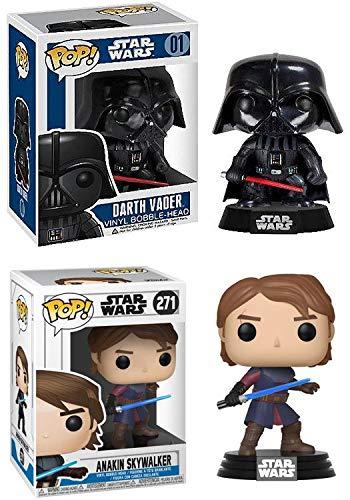 FunkoPOP Star Wars: Darth Vader + Anakin Skywalker - Stylized Vinyl Bobble-Head Figure Bundle Set