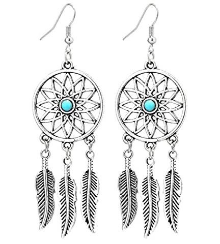 2LIVEfor Gorgeous Ethnic-Style Earrings Large Vintage Dreamcatchers Antique Style Silver Earrings Long Pendant Earrings Turquoise