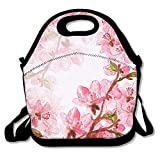 VTXWL Delicate Japanese Cherry Blossoms Digital and Watercolor Artwork Background for Wedding Graphic Lunch Tote Lunch Bag School Reusable