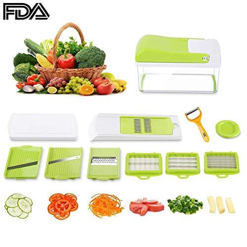 Mandoline 10 en 1 trancheur de nourriture, récipient de nourriture, coupe-légumes en fer de fer en trois parties - trancheuse végétale - broyeur de fruits et de fromage, granulateur, déchiqueteuse muti-fonction