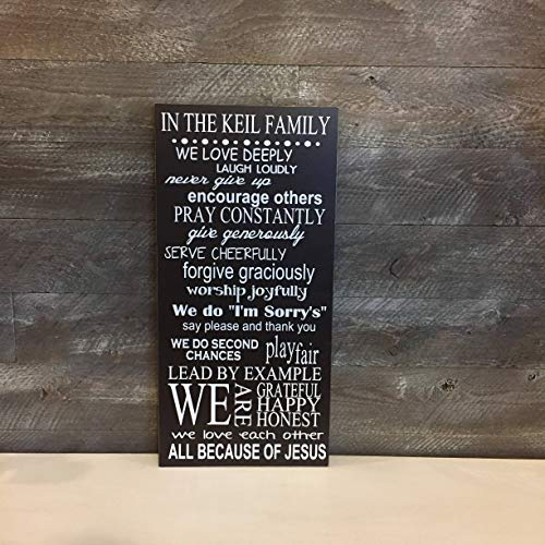 Eyrrme Christliches Wandschild mit Aufschrift Family Rules in This House We Custom, Holzschild in This Home We Christian Housewarming in Our House