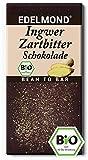 Edelmond Bio Schokolade mit frischem Ingwer. Zartbitter mit geschmackvollen Edelkakaobohnen. Laktosefrei, Vegan & Fair-Trade