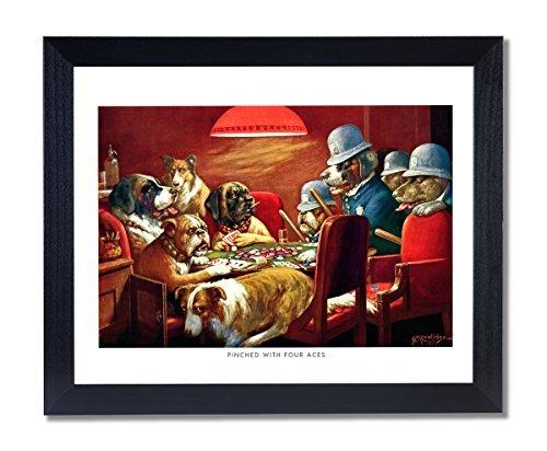 Massivholz schwarz gerahmt Coolidge Hunde Spielen Poker bei Tisch gequetscht mit 4Aces # 6Animal Bilder Kunstdruck