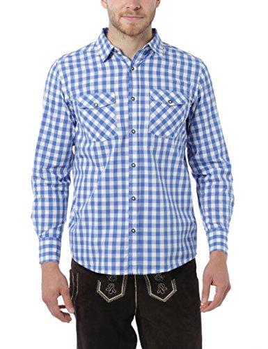 Lower East Herren Trachtenhemd, Gr. Medium, Blau (Blau/Weiß)