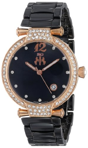 Jivago Women's Swiss Quartz Stainless Steel and Ceramic Casual Watch, Color:Black (Model: JV2215)