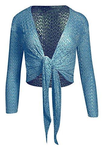 Manches longues pour femmes Tie Up Front Crochet Shrug des femmes Teal