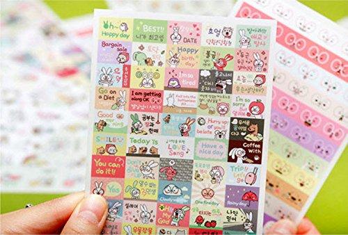 6 fogli di PVC del coniglio decorazione del mestiere autoadesivi di carta Diario Sticker Scrapbooking