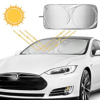 AODOOR Car Windscreen Sun Shade, Interior Sun Shade, Perfect Front Protection Against UV Rays and Heat in Your Car, 150 x 70 cm, Silver