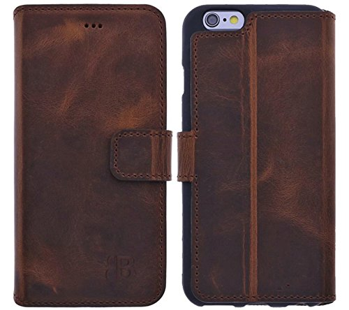 Burkley Hülle kompatibel mit iPhone 6 / 6S - Rindsleder Handyhülle für Apple iPhone 6 / 6S - Handy Wallet Case Cover mit RFID Schutz - Iphone 6 Vertikal Leder Case