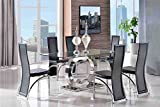 MODERN FURNITURE DIRECT Channel 160cm Steel & Clear Glass Dining Table and 6 Faux Leather Black Chairs 160x90cm | Tempered Glass | Steel Frame | Fast & Free Delivery