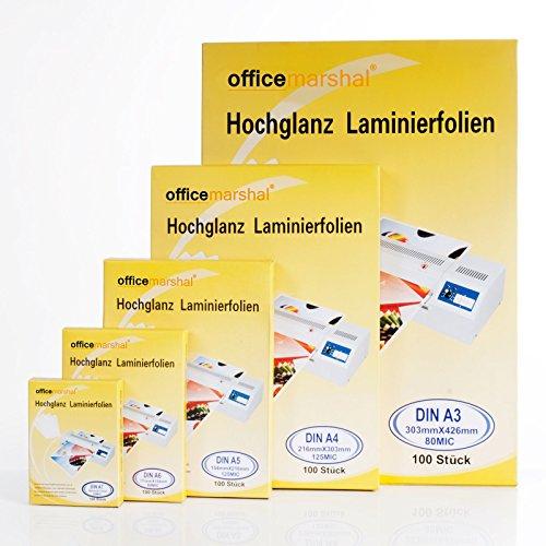 Preisvergleich Produktbild OfficeMarshal® Hochglanz Laminierfolien - 15 Sorten wählbar - 100 Stück, Markenqualität