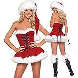 heling896 Donne Sexy da Santa, Abito da Donna Sexy di Natale, Miss Sexy Babbo Natale, Vestito da Babbo Natale, Costumi da Babbo Natale, Vestiti per Cosplay