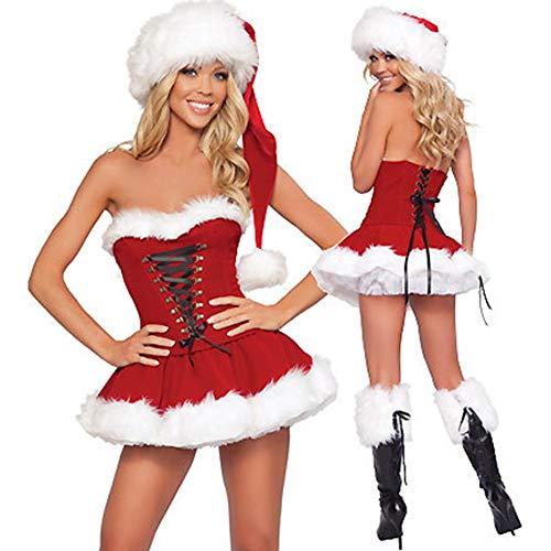 perfecti Disfraz De Forro Polar De Miss Santa Disfraz Mamá Noel Peludo Sexy Conjunto De Sombrero...